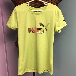 Girls Neon Green PUMA Athletic Shirt